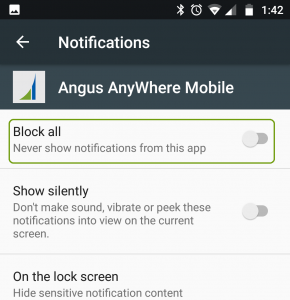 Angus AnyWhere Mobile Notifications Settings on Android