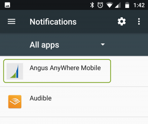 Angus AnyWhere Mobile app on the notifications list