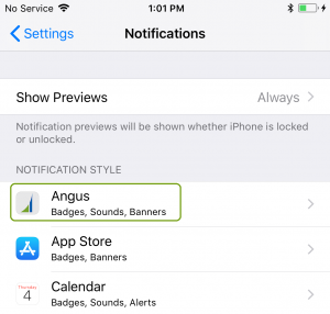 iOS notifications screen Angus AnyWhere