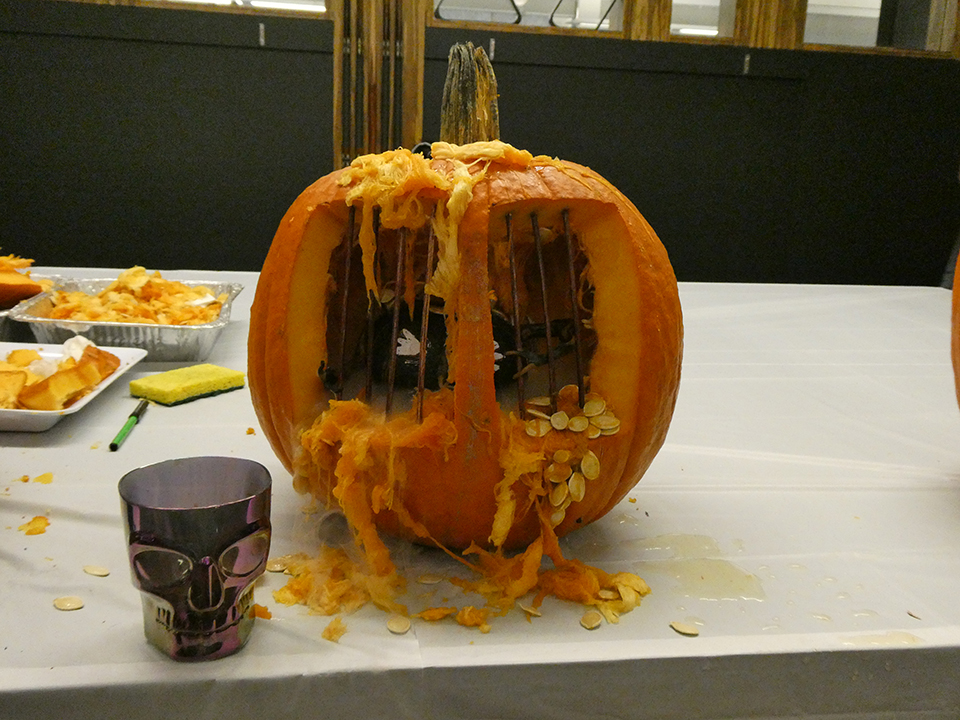 Winning Pumpkin for Office Halloween Pumpkin Carving Contest