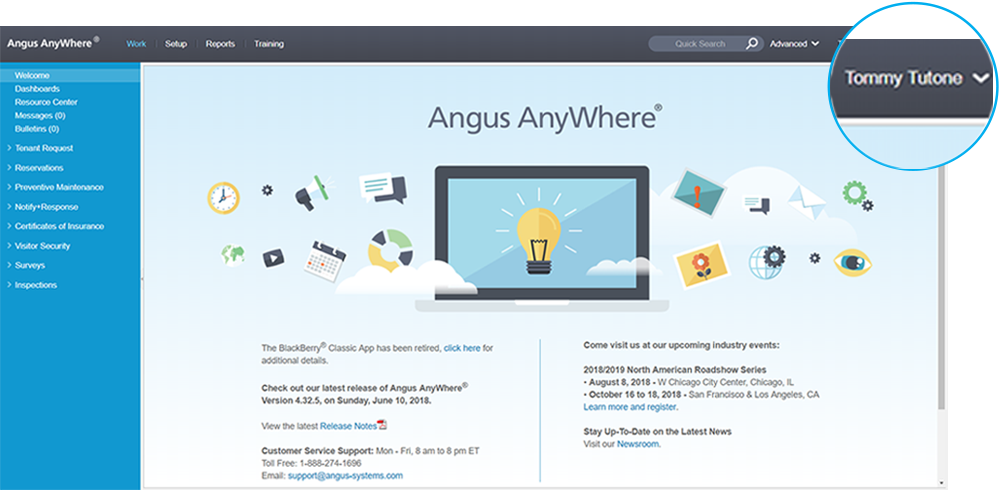 Angus AnyWhere Username Menu