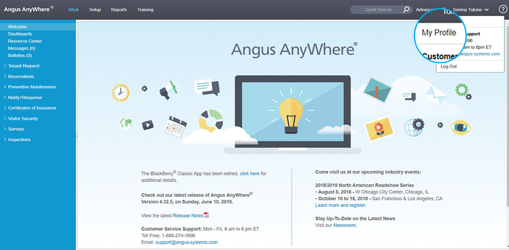 Angus AnyWhere Welcome Page My Profile